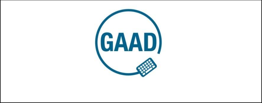 Logo GAAD na białym tle. Jest to skrót Światowego Dnia Świadomości Dostępności